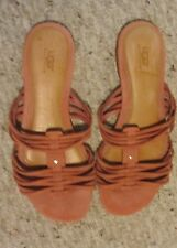 UGG Australia  Pink Suede Leather Slip on Strappy Sandals Size 8
