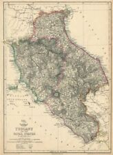 'Tuscany and the Papal States'. Italy. Shows early railways. DOWER 1863 map