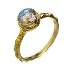 echter LABRADORIT facettiert Ring Gr.16,5  echt 925 Sterling Silber  Gold