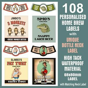 108 HOME BREW LABELS, FULLY CUSTOMISED DESIGN, 68x80mm WITH MATCHING NECK LABEL