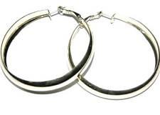 """10 pairs hoop loop earrings lot silver tone 50mm 2"""""""