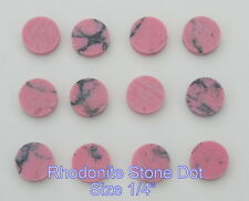 1 set of 12pcs inlay material reconstitute Rhodonite Stone dots 6.35mm