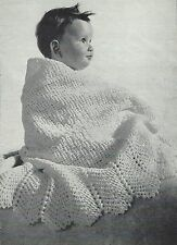 "Babies Crochet Shawl Pattern with beautiful scalloped edge 45"" square 2ply 751"