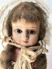 Antique German Early Papier Mache 14.5� Doll with Glass Eyes