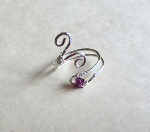 Silver Plated and Swarovski Amethyst Crystals Adjustable Toe Ring