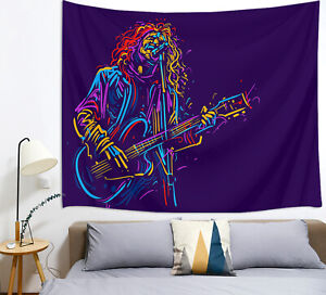 Abstract Musician Rock Guitarist Guitar Player Tapestry Wall Hanging Living Room