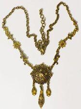 Bijou Vintage collier victorian émail strass citrine couleur or patiné * 4019