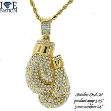Stainless Steel Boxing Gloves Pendant  + Necklace Premium Plating STSET304   NEW