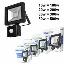 Black Compact Slimline Energy Saving Outside LED Flood Light PIR Movement Sensor