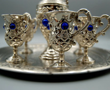 Handcrafted Turkish ottoman cups Set antique of 6 Cups and pot, Espresso Cups.