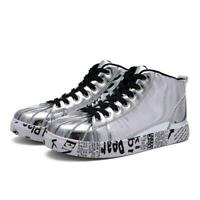 Men's Stylsh High Top Lace Up Athletic Sport Board Shoes Sneaker Shiny Patent