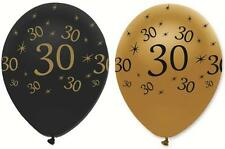 "30TH BIRTHDAY PACK OF 6 BLACK AND GOLD 12"" ROUND LATEX BALLOONS"