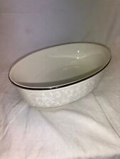 White Decorative Lenox Pearl Innocence Oval Vegetable Bowl 9.75""