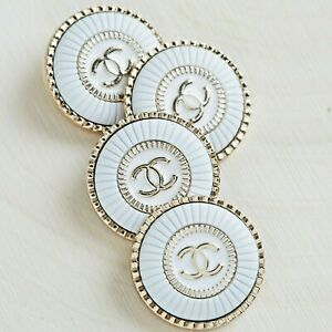 Chanel Buttons 4pc CC White & Gold 22 mm Unstamped 4 Buttons AUTH!!