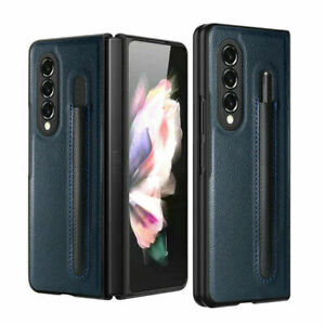 For Samsung Galaxy Z Fold 3 5G Luxury PU Leather Case Cover With S Pen Holder