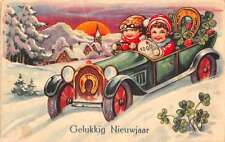 Dutch Happy New Year children in car snow scene at night antique pc Y13115