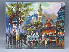 Antoine Blanchard Paris Street Scene Moulin Rouge Original Oil on Board Painting