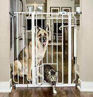 Extra Tall Cat And Dog Pet Safety Gate Barrier With Small & Large Swinging Door