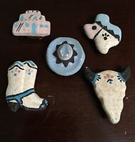 BUTTON COVERS TEXAS SOUTHWESTERN CLAY CERAMIC SET OF 5 VINTAGE