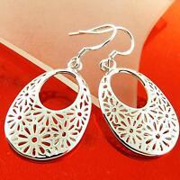 Drop Earrings Real 925 Sterling Silver S/F Solid Ladies Filigree Flower Design