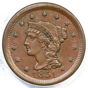 1851 N-22 R-4 ANACS AU 55 Braided Hair Large Cent Coin 1c