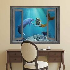 Beautiful Drawing of a Mermaid and Dolphin Interaction- Wall Mural- 24x32 inches