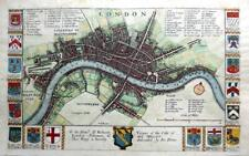 CITY OF LONDON  BY BLOME / HOLLAR  c1673 GENUINE ANTIQUE COPPER ENGRAVED MAP