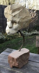 Unusual Contemporary Modern Abstract Carved Stone Bust Head Sculpture