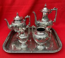 Walker & Hall Victorian English sterling silver 4 piece tea and coffee set 1886
