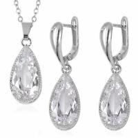 "Silvertone Cubic Zirconia CZ Earrings Pendant Necklace Gift Set 20"" Cttw 7.4"