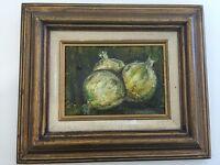 """Poper Still Life Onions Original Oil Painting, Signed, Framed, 7"""" x 5"""" (Image)"""