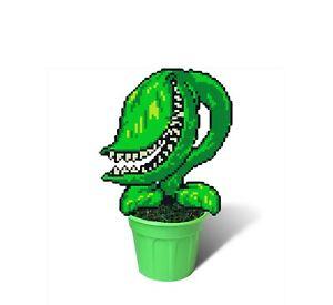 Pixel Plant in Pot, 8 Bit Decor, Perler Bead Plant, Piranha Plant in Pot