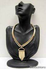 STATEMENT ROCK CHIC DECO STYLE SPIKE STUDDED QUILL WORKS COLLAR NECKLACE GOLD