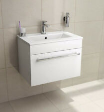 600mm Wall Mounted Hung Vanity Unit Bathroom Dropdown Cabinet Basin Sink White
