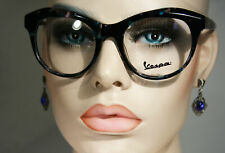 New VESPA VP2116 Clear Black and Turquoise Oversized Italian Glasses Frames