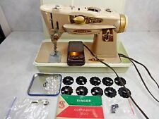 1961 SINGER 500A ROCKETEER SLANT O MATIC HEAVY DUTY SEWING MACHINE w/EXTRAS