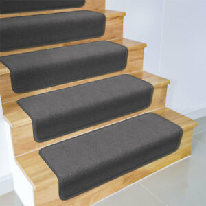 """Set of 15 OVERSTEP ATTACHABLE Carpet Stair Treads 17""""x30"""" GRAY runner"""
