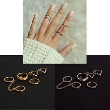Women's 6 Piece Gold Silver Leaf Geometric Knuckle Punk Ring Set Jewellery Gift
