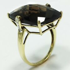 10k Yellow Gold SMOKY QUARTZ COCKTAIL RING Solitaire Diamond Accents Size 8