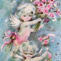 Vintage Mid Century Greeting Card Pink Blue Floral Cute Angels Kids Cherubs