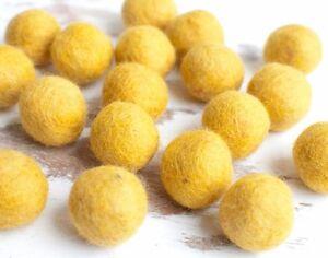2cm MUSTARD YELLOW Felt Balls x20.Wool.Party Decor.Pom poms.Felt Ball.Wholesale.