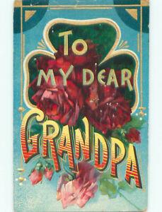 Pre-Linen MESSAGE - TO MY DEAR GRANDPA - RED ROSE FLOWERS k4332