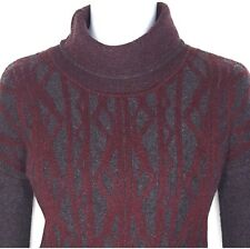 Quinn Sweater 100% Cashmere Small Medium Geometric Cable Gray Maroon Turtleneck
