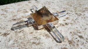 GENERATORE ENERGETICO PIRAMIDE ORGONE orgonite CALCITE GIALLA CD EBOOK cristallo