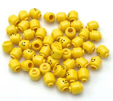 LEGO 50 NEW YELLOW STANDARD MINIFIGURE HEADS GRIN SMILE TOWN CITY BOY GIRL PARTS