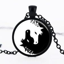 Horse Necklace Jewelry Yin Yang Black and White Animals Art Pendan black