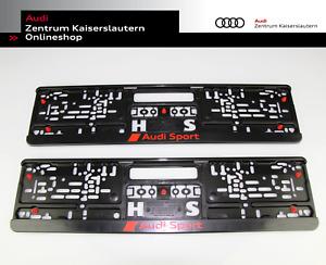 Audi Sport Original Kennzeichenhalter 2 Stück 3291900100 Rot Schwarz Verstärker
