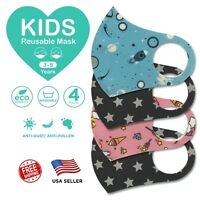 """4 Pcs Kids Face Mask Cover Washable Reusable Protection Breathable  """"US SELLER"""""""
