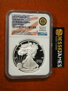 2020 W PROOF SILVER EAGLE NGC PF70 ULTRA CAMEO ER MILES STANDISH SIGNED LABEL