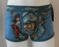 Ed Hardy Men's Mermaid Skull Pirate Unite Stretch Trunks Color Teal Size L